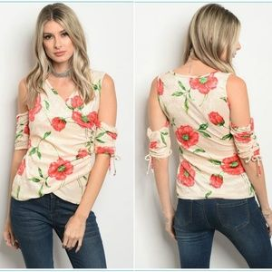 Peach floral velvet cold shoulder top